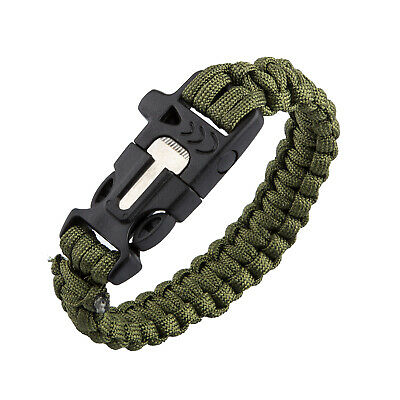 TRIXES Paracord Survival Bracelet with Built in Fire Starter and Whistle Band Gr