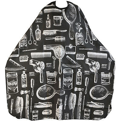 TRIXES Adult Patterned Black Salon Hairdressing Barbers Cape Body Gown