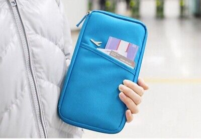 TRIXES Blue Travel Wallet Document & Passport Organiser with Zipped Closure