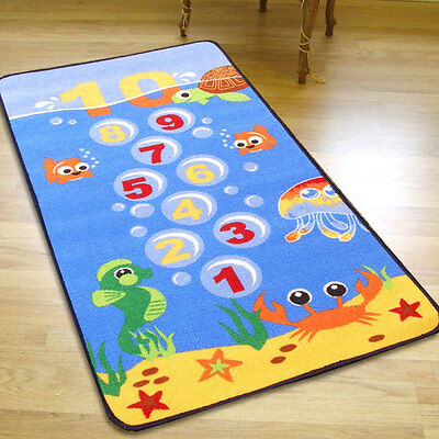 Kids Childrens Blue Undersea Hopscotch Play Mat Rug With Rubber Back 0.8m X 1.5m