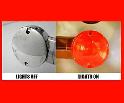 FITS HARLEYS W// 83MM FLAT STYLE TURN SIGNAL LENS CLEAR CHROME FLAME  BULLET REAR