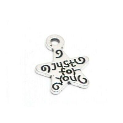 Pack of 50+ Antique Silver Tibetan 14mm Charms (Just For You) HA08850