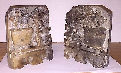 Lot of 2 VINTAGE  Chinese SOAPSTONE BOOKEND FLORAL VINE IN VASE Stamped
