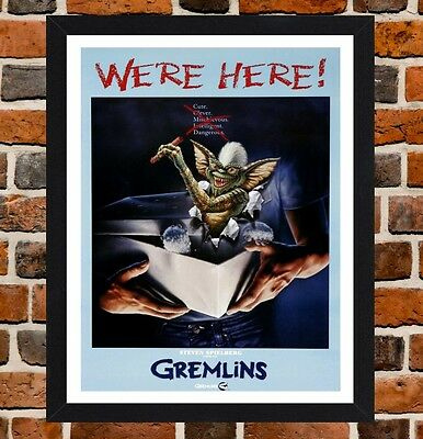 Framed Gremlins Movie Poster A4 / A3 Size Mounted In Black / White Frame