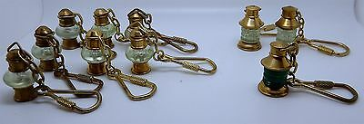 Lot of 10 Nautical Brass Lamp Keychains in 2 Different Styles