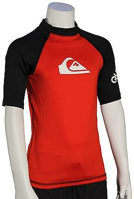 Quiksilver Boy's All Time SS Rash Guard - Red / Black - New