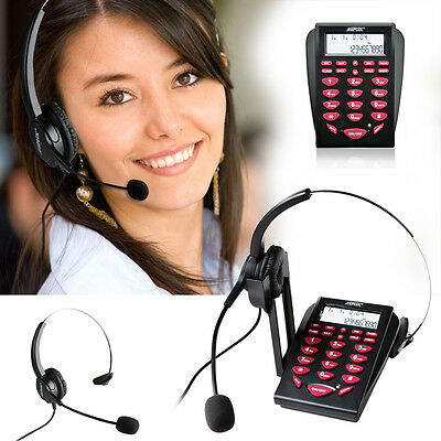 LCD Display New Office Telephone With Corded Headset Call Center Phone Dial Pad