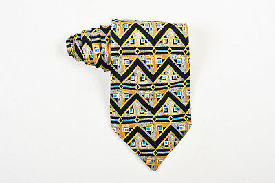 MENS Brioni Gold Black Blue Silk Zig Zag Print Tie