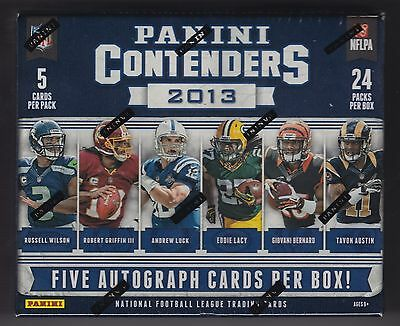 2013 Panini Contenders football sealed hobby box 24 packs of 5 cards 5 auto