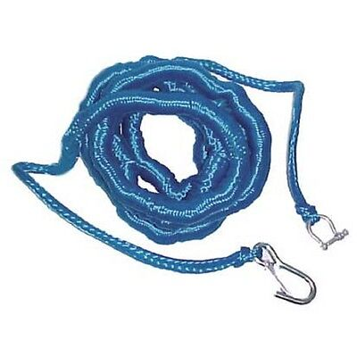 Boat Marine Anchor Bungee Poly Rope Blue Stretches 14' to 50' Shackle Snap Hook