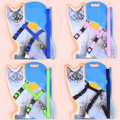 5Colors Adjustable Nylon Cat Kitten Safety Belt Strap Leashes Rope Harness Hot!