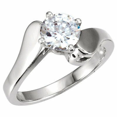 10k Solid White Gold Round Diamond Engagement Ring Setting Mounting