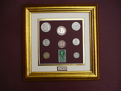 FRAMED 1960 COIN SET 57th  BIRTHDAY / ANNIVERSARY GIFT IN 2017