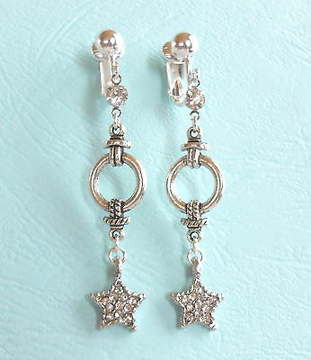 RHINESTONE STAR TIBETAN SILVER STYLE DANGLES - CLIP ON EARRINGS (Hook Options)