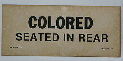 Black Segregation Sign Colored Seated In Rear 1929