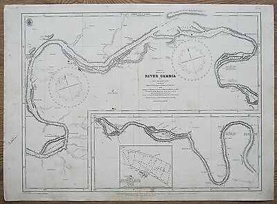 1826 River Gambia Maccarthy's Island Vintage Admiralty Chart Map