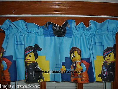 CUSTOM Lined VALANCE with LUCY aka Wyldstyle BENNY construction LEGO toy FABRIC