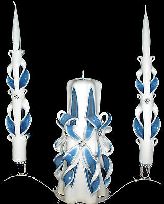 Set of 3 Silver & Royal Blue carved bows wedding unity candles - Ready To Ship