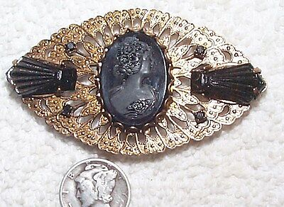 Vintage Celluloid Cameo & Brass Art Deco French Jet Black Glass Deco Pin Brooch