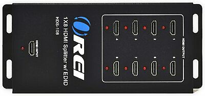 OREI HD-108 8 Port 1x8 1 In 8 Out HDMI Splitter Audio Video 1080P HD HDTV 3D DVD