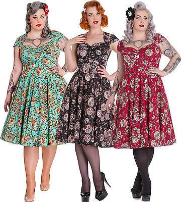 f0d3c155817 Hell Bunny Sasha Dress Skull Love Vintage Retro Punk Pinup 50s Party Plus  Size