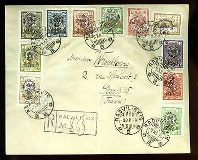 Lithuania: 1926 cover with For the Invalids issues (11 different)