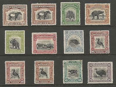 North Borneo 1909-23  Mint Selection Of 12 Stamps Cat £383