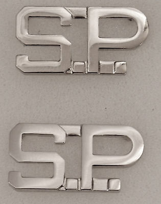 """S.P. silver/nickel 1/2"""" Letters Pair Collar Pins Rank Insignia SP"""