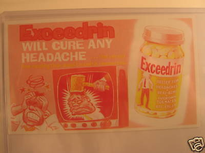 1969 Topps Wacky Packages Ads Proof Cards Exceedrin