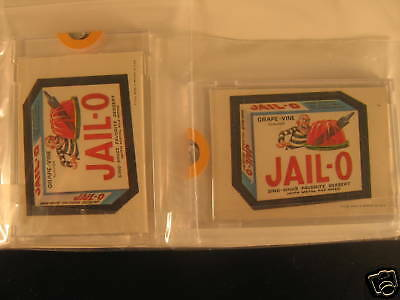 1973 Topps Wacky Packages (2)  Sticker Proof Jail-O