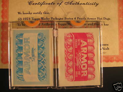 1973 Topps Wacky Packages  2 PROOFS Armor Hot Dogs