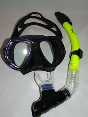 Diving Mask  Blue/black Soft Rubber Comfy Strap Dry Yellow  Snorkel Scuba 82-6