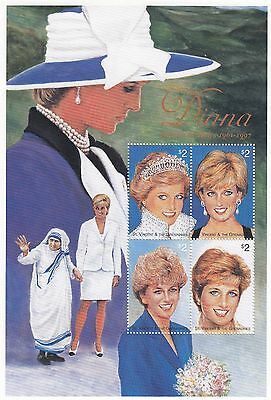 (74797) St Vincent MNH Princess Diana 1961-1997 Minisheet u/m mint