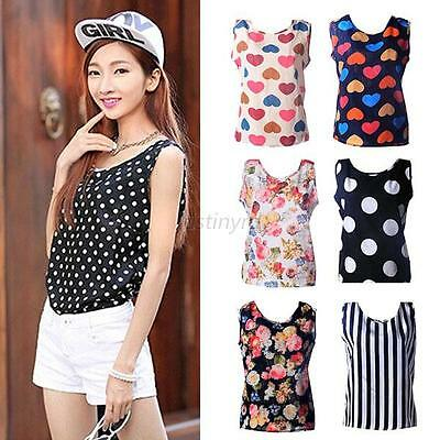 Fashionable Women Lady Crew Neck Sleeveless Loose Chiffon Vest Tank Tops 5Sizes