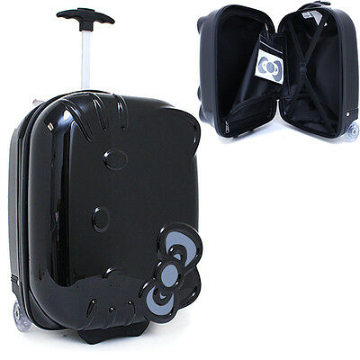 """Hello Kitty Rolling Luggage ASB Trolley Bag  Hard Suit Case :Black Face Bow 18"""""""