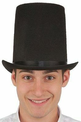 """8"""" Lincoln Stovepipe Tall Top Hat Adult Black Steampunk Abraham Abe Costume Hat"""