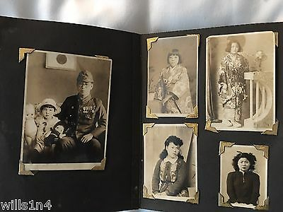 WW II Japanese photo book of soldiers and and their families 97 photies