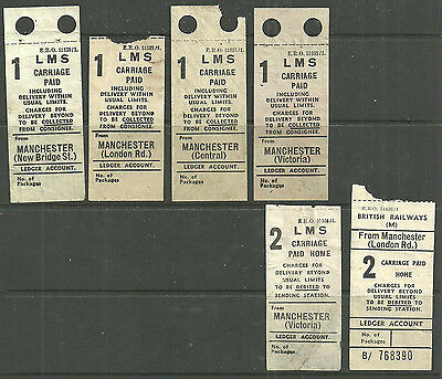 1 Lms X4 2 Lms 2 British Railways Carriage Paid Labels Manchester Stations