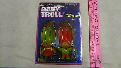 "NIP Vintage ""GOOD LUCK BABY TROLLS"" neon green and red hair"