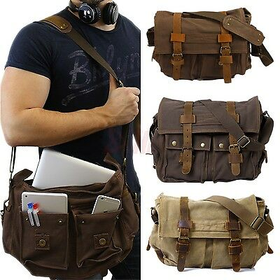 Mens Vintage Canvas Leather Satchel Military Shoulder Messenger School Bag