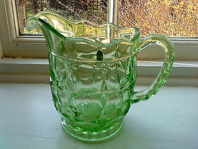 "Sowerby Green uranium Glass ""Oxford"" lemonade / water jug. 6 1/8"" tall No. 2481"