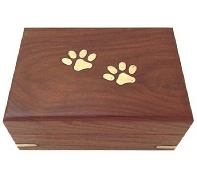 Large / Big Hand Crafted Wooden Pet Urn Dog Memorial Casket Cremation Ashes