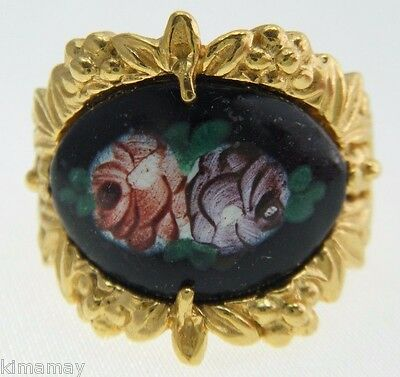 Vintage Hand Painted Black Enamel Rose Panel Gold Plated Ring Size 7