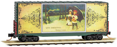 Micro-Trains MTL N-Scale 40ft. Box Car Christmas Postcards 2015 Winter Stroll