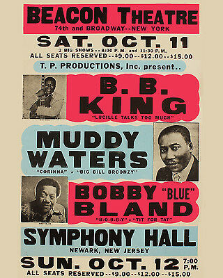 B.B. King & Muddy Waters Concert Poster (Beacon Theatre 1969) - 8x10 Photo