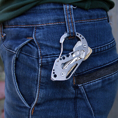 Outdoor Key Holder Screwdriver Wrench Carabiner Quickdraw Keyring Multi Tool new