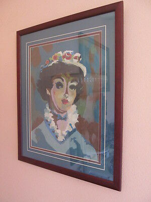 Authentic Vintage FRAMED painting woman PORTRAIT flowers PAINT BY NUMBER?
