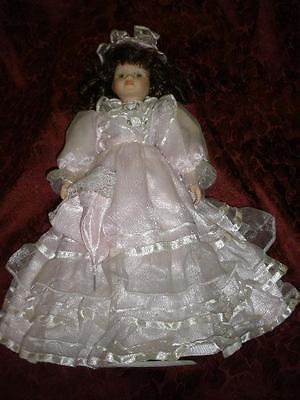 Fabulous Bisque Porcelain Doll With Stand Pink