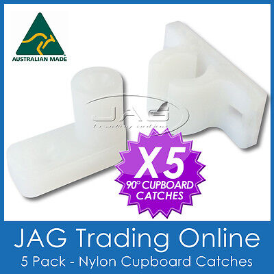 5 x 90° ANGLED NYLON CUPBOARD CATCH - Boat/Caravan/RV/Camper/Door/Drawer/Latch