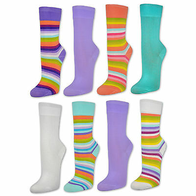6 or 12 Pair Women's Socks Colourful Stripes with Comfort Waistband Cotton